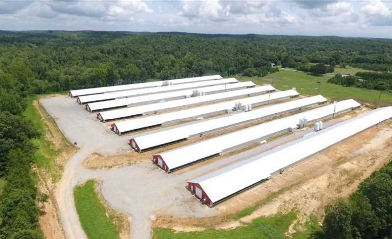 8 OMP Poultry Houses built in 2017 on 25 acres with option to buy a house, 2007 mobile and additional 65 acres